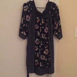 Dresses & Skirts - Navy and Floral Print Dress